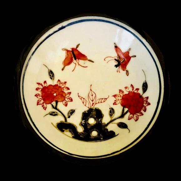 Vintage Japanese Porcelain Pewter Bowl